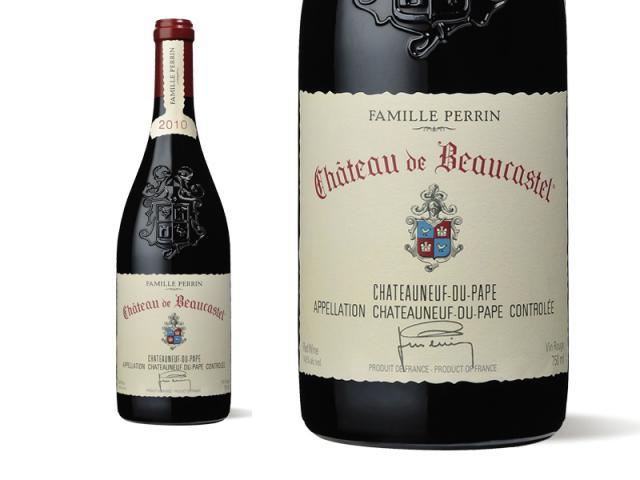 Bouteille et Etiquette Château de Beaucastel rouge 2010