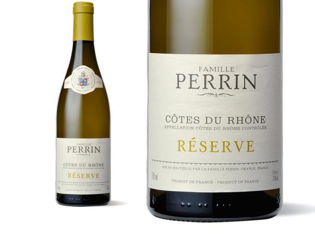 Bouteille et Etiquette Perrin Réserve Blanc 2010